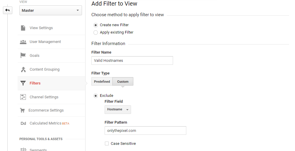 Filtering Including Hostname